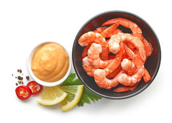 bowl of boiled gambas and salca sauce
