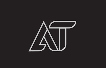 black and white alphabet letter at a t logo combination