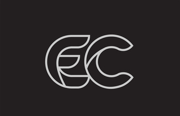 black and white alphabet letter ec e c logo combination