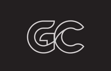 black and white alphabet letter gc g c logo combination