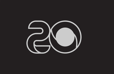 black and white number 20 logo icon design