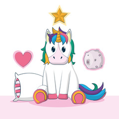Cute unicorn fantasy cartoon