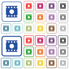 Movie record outlined flat color icons