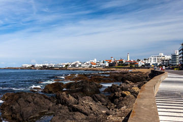 Coastal town Punta del Este with lighthouse in Uruguay