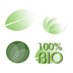 Set of four leaf emblems, logos, stamps. 100% bio. Vector illustration.