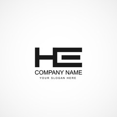Initial Letter HE Logo Template Design