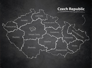 Czech Republic map separate region individual names blackboard chalkboard vector