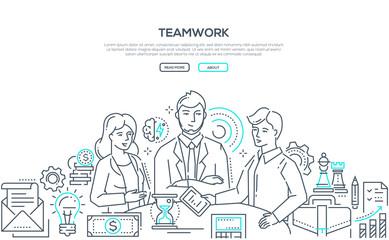Teamwork - modern line design style illustration