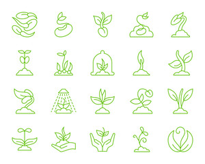 Sprout simple color line icons vector set