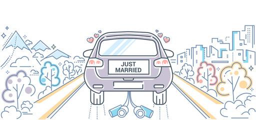 Honeymoon - colorful line design style illustration