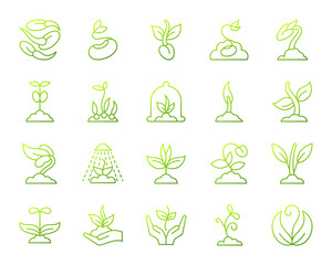 Sprout simple green line icons vector set