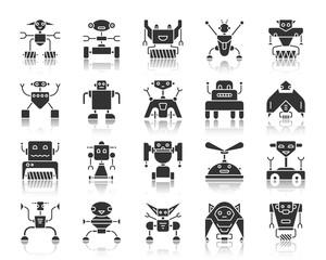 Robot black silhouette icons vector set