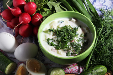 A bowl with traditinal Russian cuisine soup okroshka