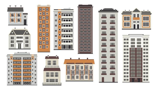 City elements of high-rise buildings front view with windows and doors in flat style isolated on white background. Collection of apartment houses and municipal structures. Vector illustration.