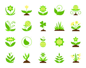 Garden simple flat color icons vector set