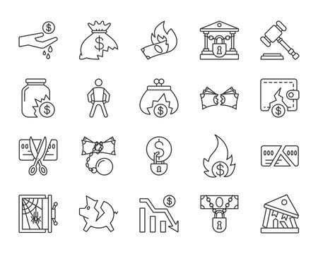 Bankruptcy simple black line icons vector set