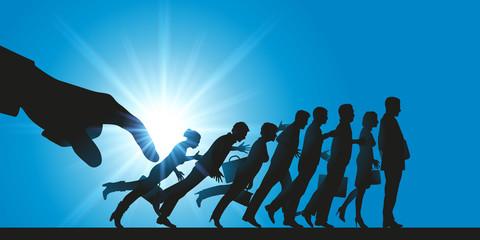 licenciement, entreprise, emploi, compétitivité, concept, effet domino, licencier, plan social