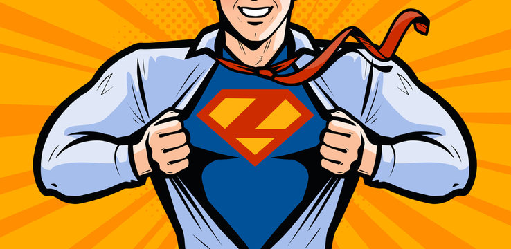 Superhero. Vector illustration in style comic pop art