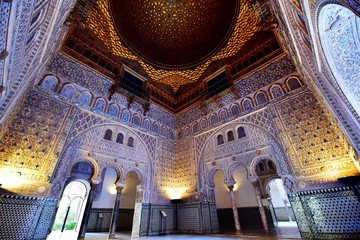 Hall of Ambassadors (Dome of Salon de Embajadores) in the Royal Alcazar of Seville, Andalusia, Spain.