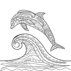 Dolphin, pattern, coloring book, coloring page, vector, for children