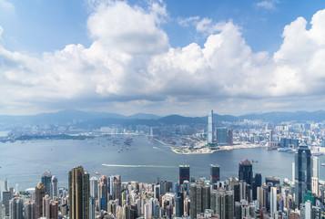panoramic city skyline in hong kong china