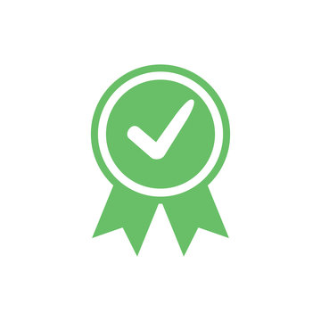 Approved certified icon. Certified seal icon. Accepted accreditation symbol with checkmark. Assurance or authorized