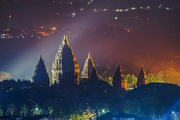 Prambanan temple night view; Yogyakarta, Indonesia; July 2018