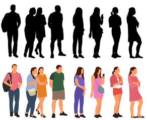 Wall Mural - vector, isolated, set of people go, flat style, collection