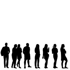 Wall Mural - isolated, set of silhouettes people go, collection