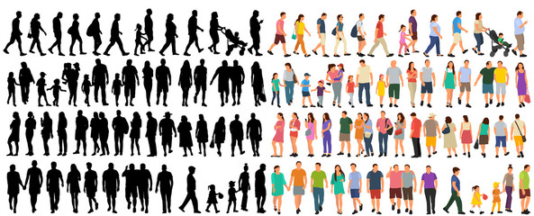 set of people go, flat style Wall mural