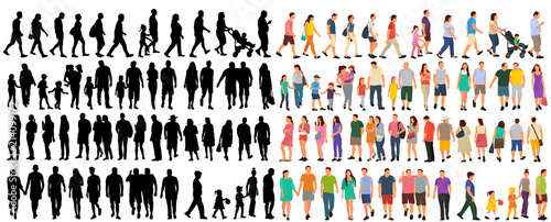 Wall mural  set of people go, flat style