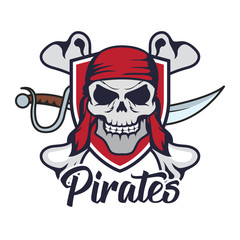 pirates, skull logo, vector illustration