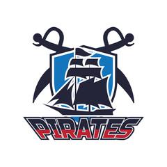 pirates, skull logo, vector illustration