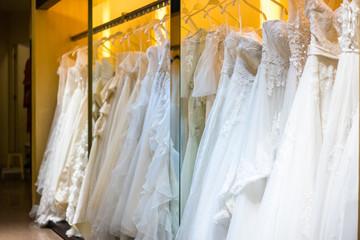 beautiful wedding dress in the shop