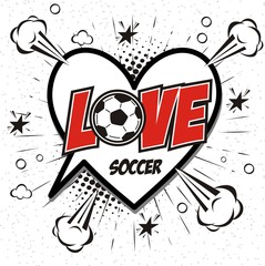freehand drawn comic book speech bubble cartoon word love soccer