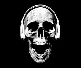 Skull with headphones Screaming Illustration Background