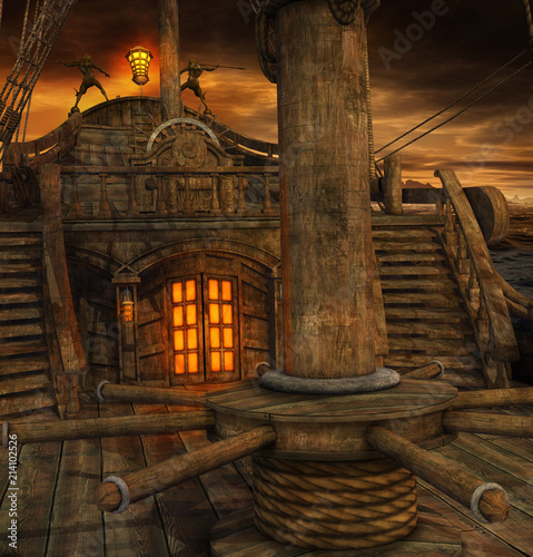 Pirate Ship Deck with Stairs to the Galley
