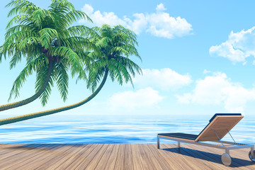 Outdoor living on summer vacation, Seaside terrace with lounger, 3D Rendering