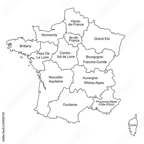 Black outlines map of France with names on white background