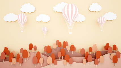 Pink balloons on mountain and sky background. Artwork for balloon international festival. paper cut or craft style.Autumn season artwork.3D illustration.