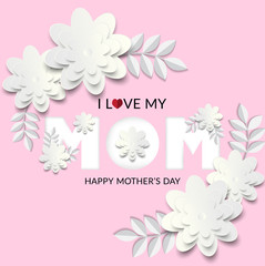 I love my mom Design with white flower and pink background vector illustration.