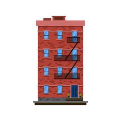 Flat design european colorful apartment illustration