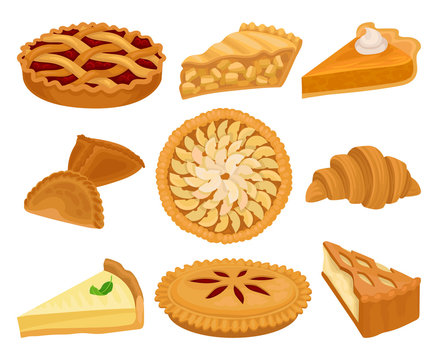 Flat vector set of delicious bakery products. Pies with different fillings, fresh croissant and cheesecake. Sweet food