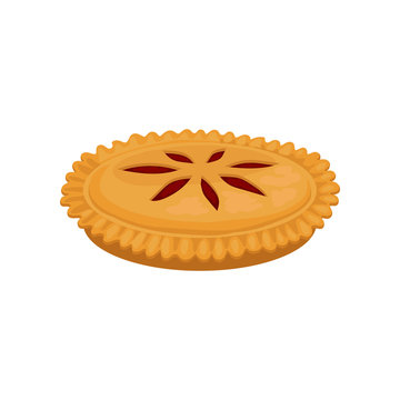 Flat vector icon of delicious pie with strawberry jam. Fresh and sweet bakery product. Sweet food. Culinary theme