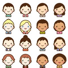 世界の人々 人種 男女 顔 かわいい アイコン セット
