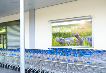 Advertisement Outside of Grocery Store Mockup