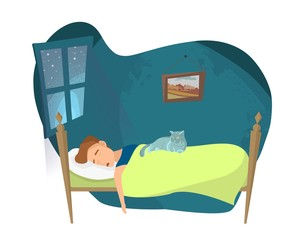 Young guy is sleeping in his bed. Cartoon vector illustration.