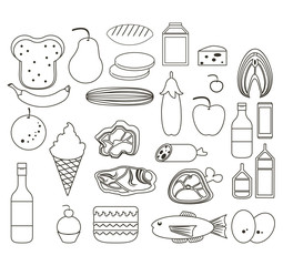 Set of food icons collection in black and white