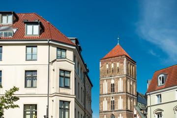 Wall Murals Blick auf die Östliche Altstadt von Rostock.