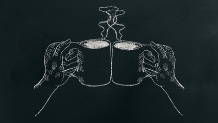 Chalk hand drawing two hands holding coffee cup with steam and cheers on black board.